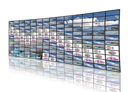 visual therapy: A large group of monitors projecting fresh and relaxing images as a therapy.