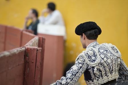 bull fight: A matador  in a typical Spanish bullfight
