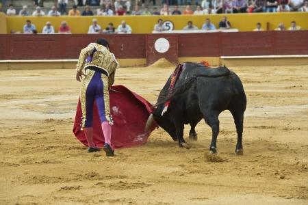 bullfight: A matador fighting in a typical Spanish bullfight. Stock Photo