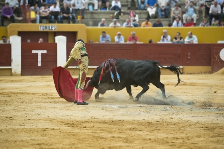 gaff: A matador fighting in a typical Spanish bullfight. Stock Photo