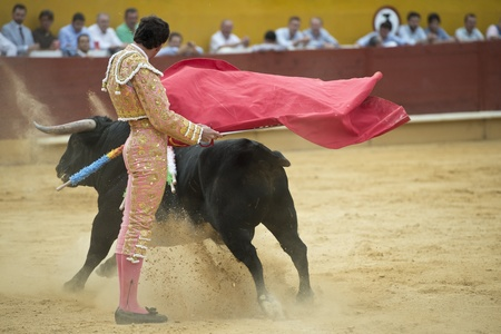 bull fight: A matador fighting in a typical Spanish bullfight. Stock Photo