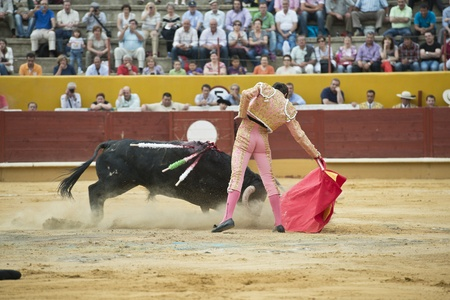 fight arena: A matador fighting in a typical Spanish bullfight. Stock Photo
