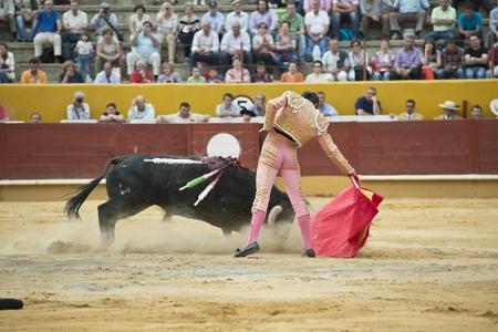 matador: Een matador gevechten in een typisch Spaans stierengevecht. Stockfoto