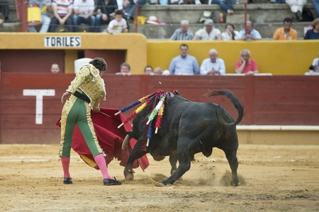 gaff: A matador fighting in a typical Spanish bullfight. Editorial
