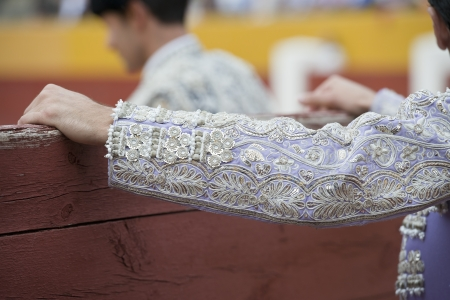 bull fight: Detail of the sleeve of the jacket of a bullfighter embroidered with silver thread. Stock Photo