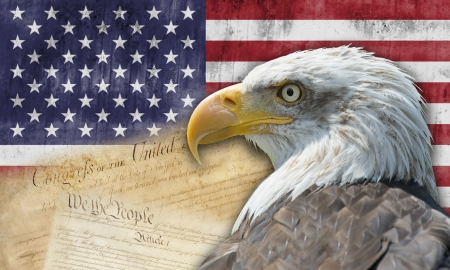 declaration: American flag with the bald eagle and  some historic documents  Stock Photo