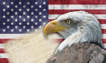 constitucion: Bandera americana con el águila calva y algunos documentos históricos Foto de archivo