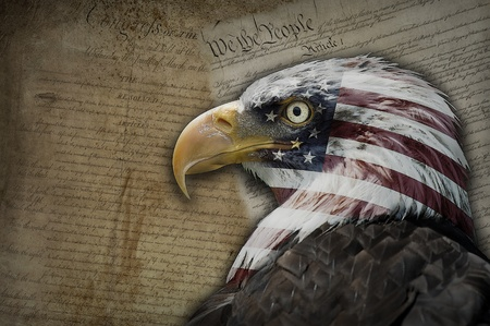 Bald eagle with the American flag on a background made of historical documents