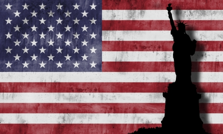 Statue of liberty againts the american flag Stock Photo - 15445347