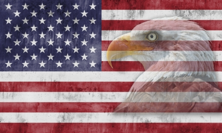 american revolution: American flag with patriotic symbols of the United States of America