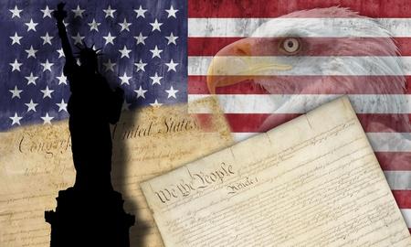 constitucion: Bandera de Estados Unidos con los símbolos patrios de los Estados Unidos de América