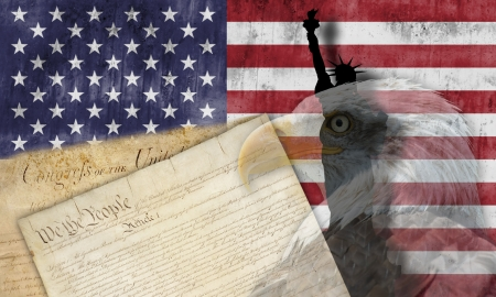 constitution: American flag with patriotic symbols of the United States of America