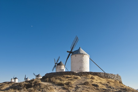 eolian: Traditional wind mills in the province of Toledo in Spain, which were reflected by Miguel de Cervantes in his &quot,Don Quixote&quot,