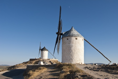 don quixote: Traditional wind mills in the province of Toledo in Spain, which were reflected by Miguel de Cervantes in his Don Quixote Stock Photo