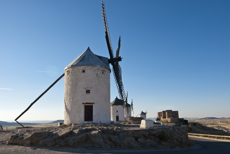 wind mills: Traditional wind mills in the province of Toledo in Spain, which were reflected by Miguel de Cervantes in his Don Quixote Stock Photo