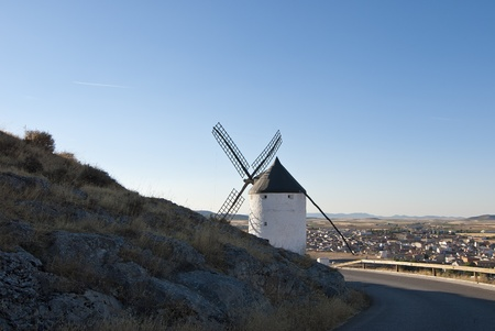 eolian: Traditional wind mills in the province of Toledo in Spain, which were reflected by Miguel de Cervantes in his Don Quixote Stock Photo