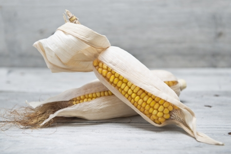 mealie: Dried corn ears on an old wooden background