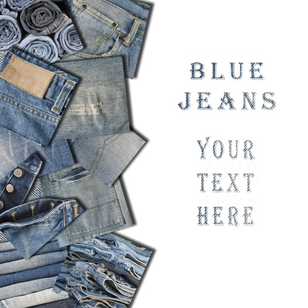 Collage made with square pieces of jeans on a white background with space for text.