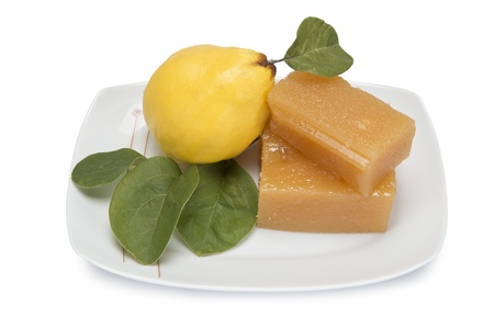 marmalade: Still life with quinces and homemade quince cheese Stock Photo