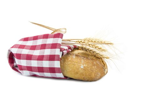 dishcloth: wheat bread covered wit a dishcloth and isolated on a white background
