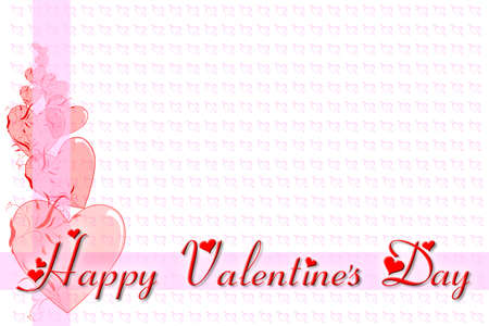 14 february: Greeting card for Valentines Day, in red and pink, with a space for text