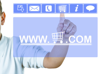 order online: A finger on a virtual screen showing online shopping concept Stock Photo