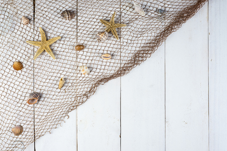 fishnets: Summer holidays white background with a space for advertising and maritime theme Stock Photo