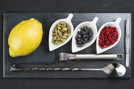 ingredient: Utensils and ingredients to prepare and garnish a gin and  tonic