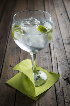 Gin and tonic garnished with lime on a wooden background Foto de archivo