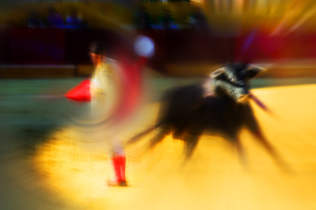 bullfighter: Colorful abstract drawing about bullfight with a bullfighter fighting with a bull