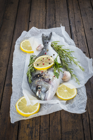 cooked fish: Fresh gilt-head sea bream fish with lemon herbs and spices on bakery release paper ready to be cooked