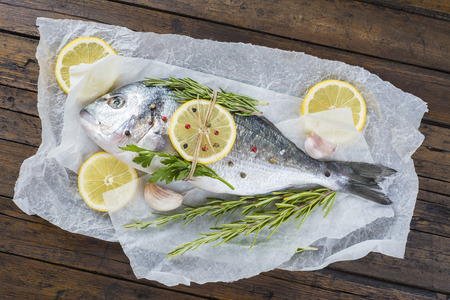 Fresh gilt-head sea bream fish with herbs and spices on a bakery release paper ready to be cooked photo