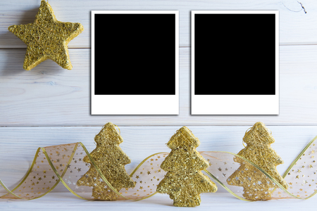Christmas bacground with a space for text or photo and bright decoration photo