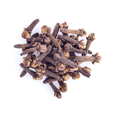 flavorings: Dried cloves islolated on a white background