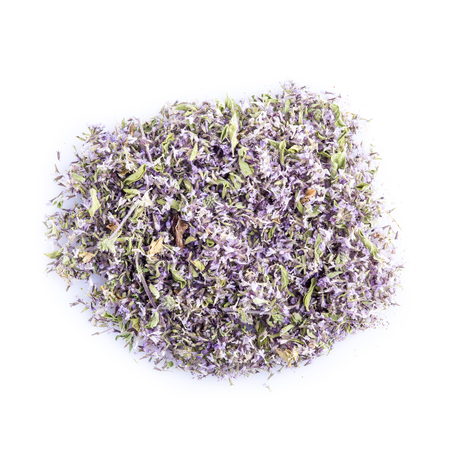 squaw: Pennyroyal dried and minced isolated on a white background