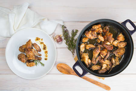 spanish style: Traditional garlic Chicken dish Spanish style on the table Stock Photo