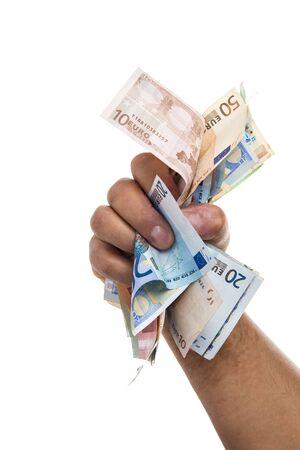 mucho dinero: Mano que sostiene una gran cantidad de dinero aislados en un fondo blanco