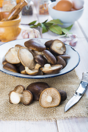 autmn: King trumpet mushrooms and ingredients for cooking on the table of the kitchen Stock Photo
