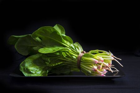 veggie tray: A bunch of fresh spinach on a black background