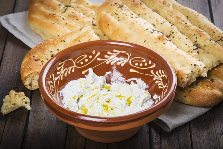 strained: Barbari or Persian bread with strained yogurt, greek yogurt, yogurt cheese or labneh