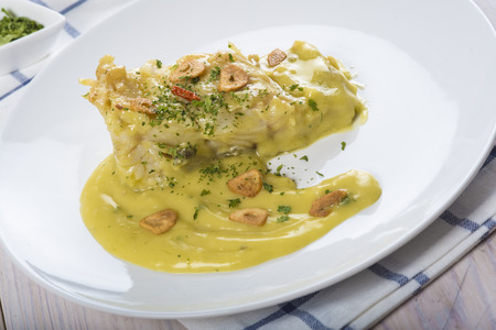 haddock: Salt cod in a pilpil sauce a typical Spanish recipe
