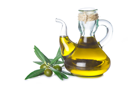 extra virgin olive oil: Extra virgin olive oil bottle with a rope tied around its neck isolated on white background