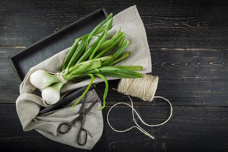 cebollas: cebolletas frescas y tijeras viejas en un fondo de madera negro Foto de archivo