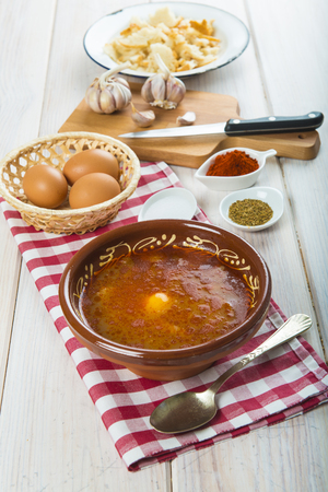castellana: Traditional Spanish Castilian or garlic soup with eggs and its ingredients Stock Photo