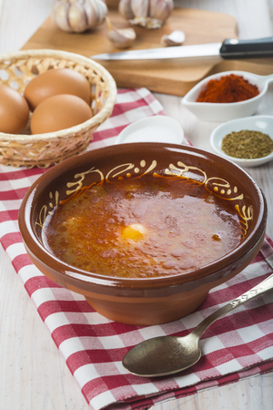sopa: Traditional Spanish Castilian or garlic soup with eggs and its ingredients Stock Photo