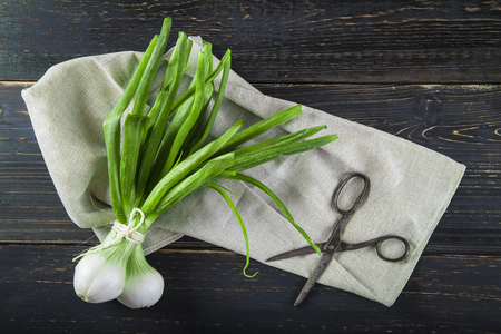 spring onions: Fresh spring onions and old scissors on a black wooden background