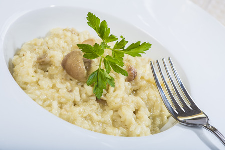 Porcini mushroom risotto with parmesan cheese decorated with parsley Stock Photo