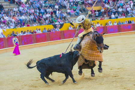 stab: Details of animal abuse to the bull in Spanish bullfights Stock Photo