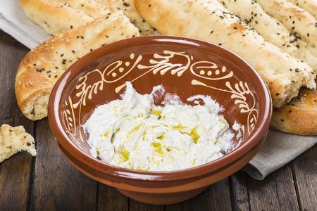 strained: Barbari or Persian bread with strained yogurt, greek yogurt, yogurt cheese or labneh