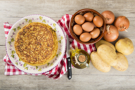 Typical Spanish omelette made with potatoes